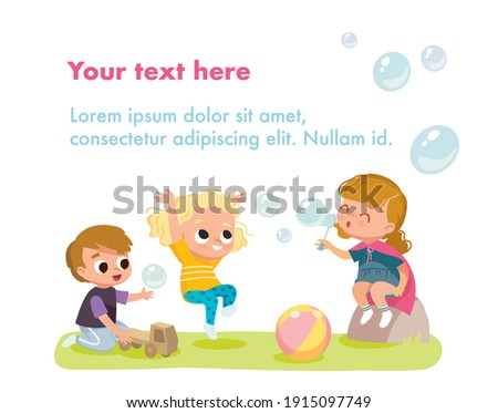 Children playing outdoors on playground on school holidays. Boy playing with toy car, truck, lorry. Girl blowing, making soap bubbles. Group children spending time in games, having fun, fooling around Foto d'archivio ©