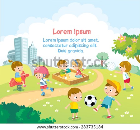 children playing outdoors with