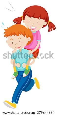 Children playing piggy back ride illustration