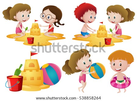 Children playing sand on the beach illustration