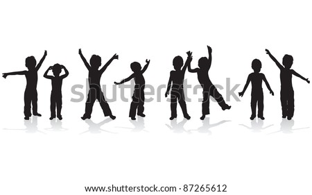 children playing silhouettes
