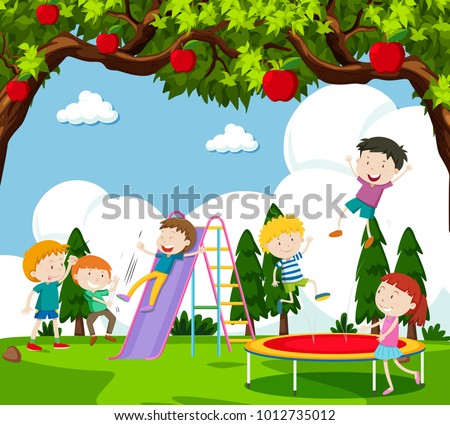 Children playing slide and bouncing on trampoline illustration