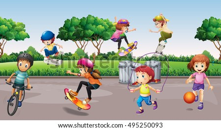 children playing sports in the