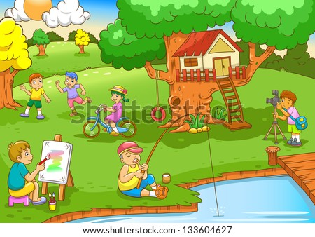 children playing under tree house.EPS10 File - simple Gradients, no Effects, no mesh, no Transparencies.All in separate layers for easy editing.