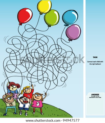 Children Playing with Balloons - Maze Game with Solution - stock vector