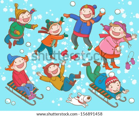 Children playing with Snow. Winter activities. Isolated objects on Snow Winter  background. Great illustration for school books and more. VECTOR.