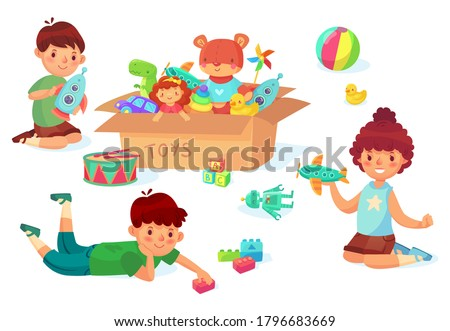 Children playing with toys. Boy holding rocket in hands, guy with bricks. Girl playing with airplane. Cardboard with different toys as car and doll, car, rubber duck. Kids have entertainment vector