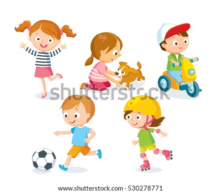 Children playing with toys, pets, playing football