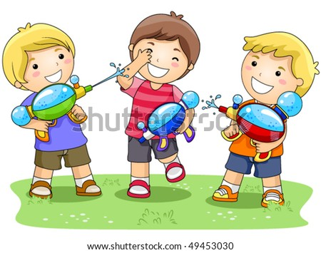 Children playing with Water Gun in the Park - Vector