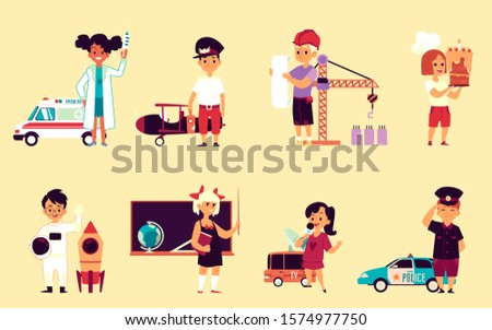 Children profession set - cartoon kids wearing uniforms of different job employees - doctor, pilot, builder, baker, astronaut, teacher, news anchor and policeman. Isolated flat vector illustration