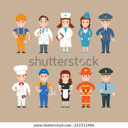 Children profession. worker doctor nurse stewardess pilot cook mechanic waitress fireman policeman
