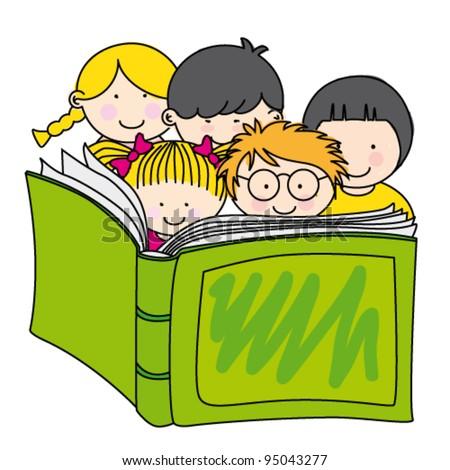 children reading a book