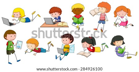 children reading and writing in