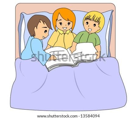cartoon images of children reading. stock vector : Children Reading Book - Vector