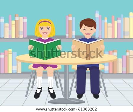 children reading books in the