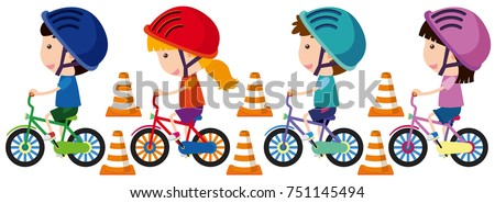 Children riding bike with helmet on illustration