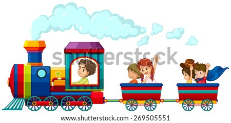 Children riding on the train