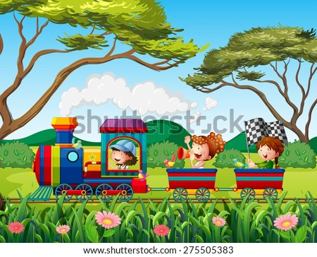 children riding on train in the