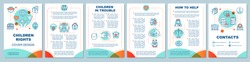 Children rights brochure template layout. Stop domestic violence. Flyer, booklet, leaflet print design with linear illustrations. Vector page layouts for magazines, annual reports, advertising posters