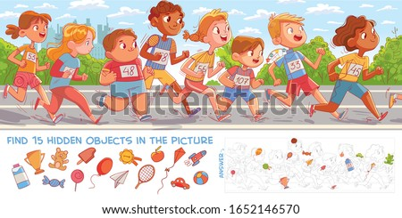 Children run marathon. Find 15 hidden objects in the picture. Puzzle Hidden Items. Funny cartoon character. Vector illustration