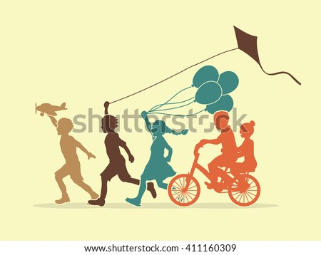 Children running, Friendship graphic