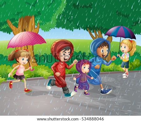 children running in the rain
