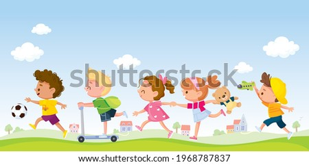 Children running one after another by pathway. Kids rush somewhere in group in line with toys and playthings. Kids walking by track. Girls runs holding arms. Boy ride scooter. Friends on outside walk.