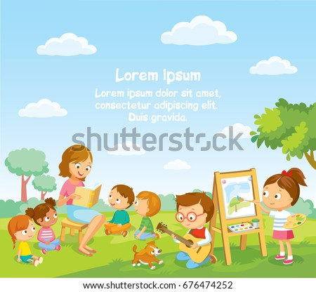 Children's activities  at the summer camp. Reading for kids.
