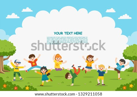 Children's activities. Happy children are jumping on the park.Template for advertising brochure.