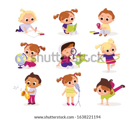 Children's activities. Set of kids in various poses. Children draw, play, sing, dance, play music, read. Kids at the art classes.