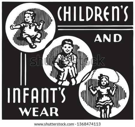Children's And Infant's Wear - Retro Ad Art Banner