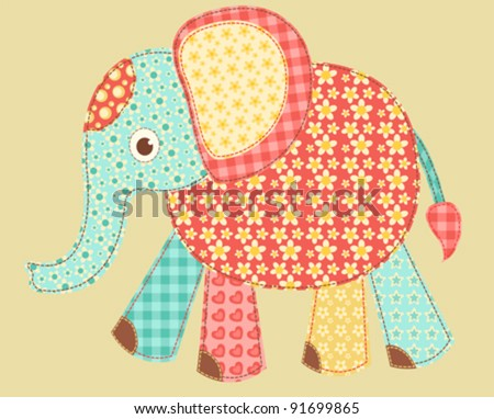 Children's application. Elephant. Patchwork series. Vector illustration.
