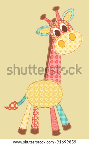 Children's application. Giraffe. Patchwork series. Vector illustration.