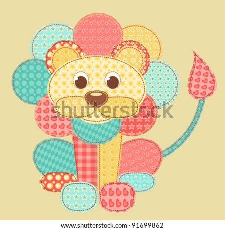 Children's application. lion. patchwork series. vector illustration