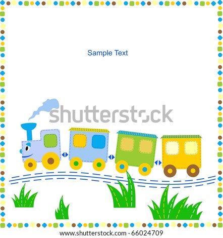Children's background with toy train for your text.