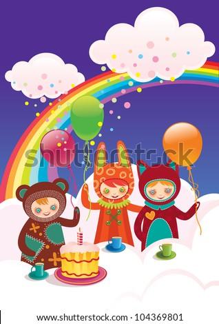 Children's birthday with friends./ Birthday with friends