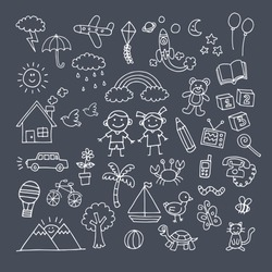 Children's day, chalk icon collection on a blackboard background
