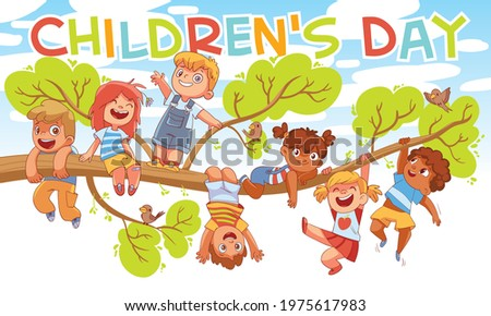 Children's Day. Children hung on a tree branch. Colorful cartoon characters. Funny vector illustration. Ready banner for your design