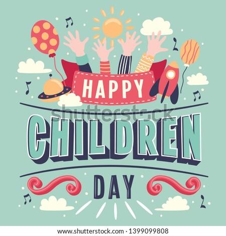 Children's day Hand Lettering vector background. Happy Children's Day. Happy children's day colorful card with children's hands balloon sun - Vector Illustration