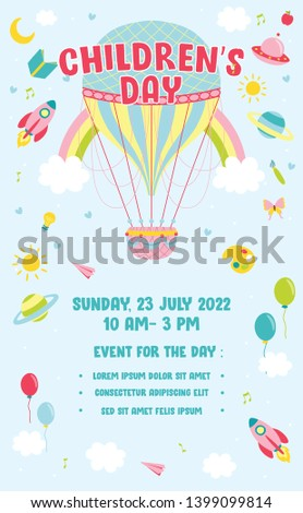 Children's day Poster invitation vector illustration. World of imagination with vintage hot air balloon, rocket, rainbow, moon, planets, idea and balloons floating above clouds - Vector Illustration