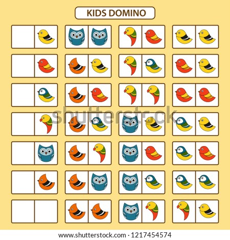 Children's dominoes on the theme of birds. Children educational game. Printable activity, board game. Vector illustration