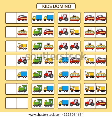 Children's dominoes with different vehicles. Children educational game. Printable activity, board game. Vector illustration
