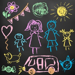 Children's drawings. Elements for the design of postcards, backgrounds, packaging. Color chalk on a blackboard. Family, sun, ball, dog, car, cat