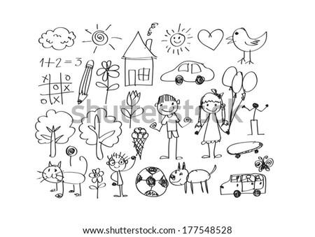 Children Drawing Vector Download Free Vector Art Stock Graphics