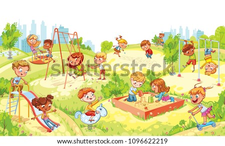 Children's entertainment complex with swing, sandbox, carousel and slides in recreation park. Children playing in playground. Kids zone. Place for games. Funny cartoon characters. Vector illustration - Shutterstock ID 1096622219