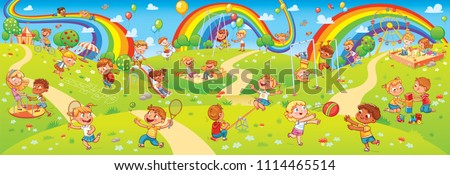 Children's entertainment complex with swing, sandbox, carousel and slides in recreation park. Children playing in playground. Kids zone. Place for games. Funny cartoon characters. Vector illustration - Shutterstock ID 1114465514