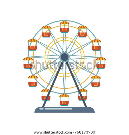 Children's entertainment playground, recreation park. Place for children's games. Funfair with ferris wheel. Amusement and carnival, carousel in park. Amusement park. Vector flat illustration.