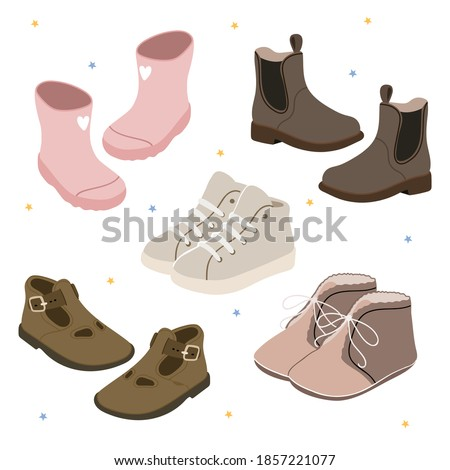 Children's Fashion. Pastel set with baby shoes. Pink rubber boots, sneakers, sneakers, Chelsea, sandals, boots. Zdjęcia stock ©