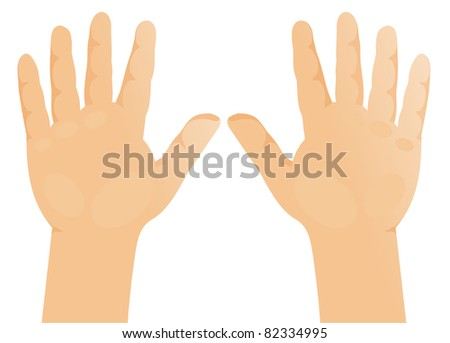 children's hands, palms forward - stock vector