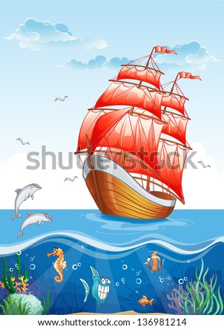 Children's illustration of a sailboat with red sails and the underwater world